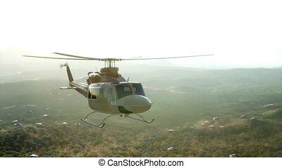 vietnam, mouvement, hélicoptère, militaire, etats, uni, lent