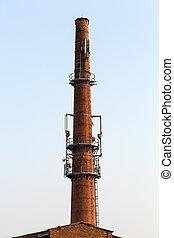 vieux, émetteur-récepteur, station, base, brique, cheminée