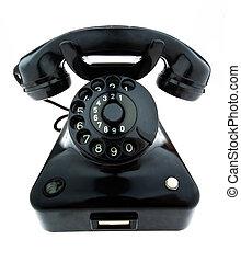 vieux, antiquité, téléphone, téléphone., retro, fixe