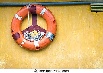 vieux, attaché, wall., corde, lifebuoy, orange
