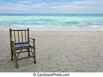 vieux, bambou, chaise plage