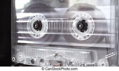 vieux, bande, retro, cassette, audio, jouer, bobines