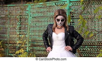 vieux, barrière, halloween, terrifiant, rouillé, fond, maquillage, girl