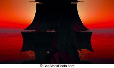 vieux, bateau, coucher soleil, 4k