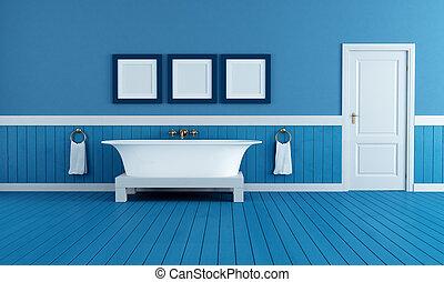 vieux, bleu, style, salle bains
