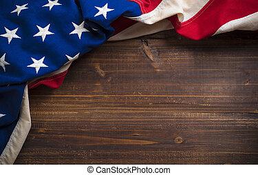 vieux, bois, drapeau américain, fond, planche