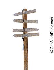 vieux, bois, poteau indicateur, isolé, flèche, blanc