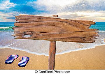 vieux, bois, signe plage