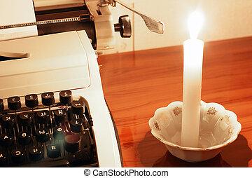 vieux, bougie, machine écrire