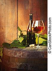 vieux, bouteille verre, blanc, baril, vin