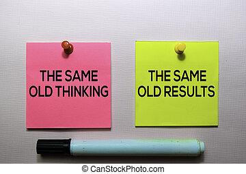 vieux, bureau, pensée, texte, notes, isolé, même, résultats, bureau, collant