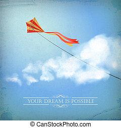 vieux, cerf volant, vendange, ciel, papier, fond, nuage