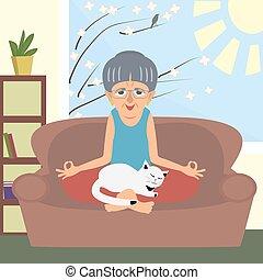 vieux, chat, vecteur, maison, yoga, dame, dessin animé