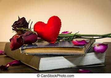 vieux, coeur, vendange, roses, livres, petit, style.
