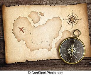 vieux, concept., trésor, map., aventure, compas, table