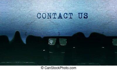 vieux, contacter drap, typewriter., mots, vendange, dactylographie, nous, papier