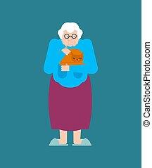 vieux, coups, pet., cat., grand-mère, grand-maman, mains, chaton, dame