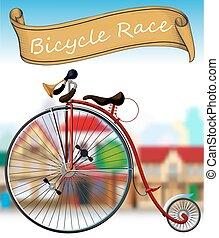 vieux, course, vélo