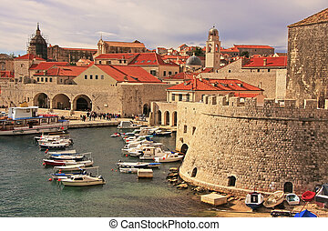 vieux, croatie, port, dubrovnik