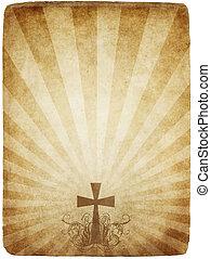vieux, croix, parchemin