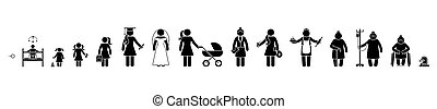 vieux, cycle, gosse, femme, gens, vieillissant, malade, crosse, vecteur, croissant, icône, écolière, vie, humain, bébé, processus, séquence, étudiant, mort, pictogramme, retiré, femme affaires, enfant, figure, set., femme, haut