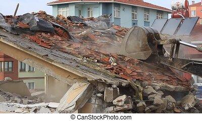 vieux, décombres, bas, excavateur, dû, inquiétudes, santé, cause, toxicity., tourner, substances, quelques-uns, construction, poussière, déchirure, bâtiment, maisons, remplit, air, site., béton, boîte