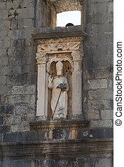 vieux, dubrovnik, sur, tas, statue, portail