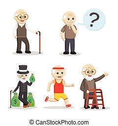 vieux, ensemble, caractère, homme