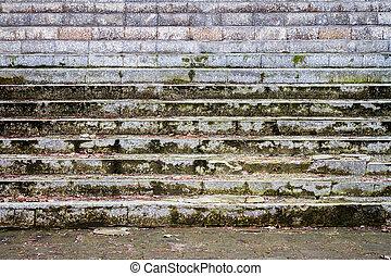 vieux, escalier, sale, détail