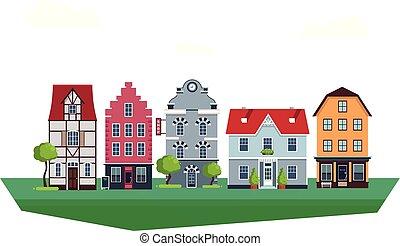 vieux, eurpoean, illustration, traditionnel, maisons, vecteur, vendange