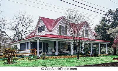vieux, ferme, toit, rouges