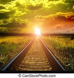 vieux, ferroviaire, coucher soleil