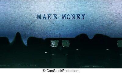 vieux, feuille, argent, typewriter., mots, faire, vendange, papier tapant