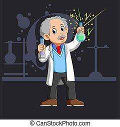 vieux, flacon, scientifique