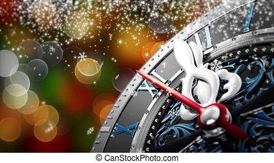vieux, flocons neige, horloge, -, minuit, année, étoiles, nouveau, vacances, lights.