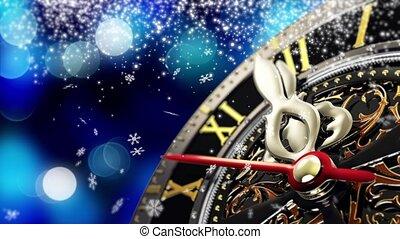 vieux, flocons neige, horloge, -, minuit, année, 4k, étoiles, nouveau, vacances, lights.