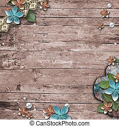 vieux, fond, bois, perles, fleurs