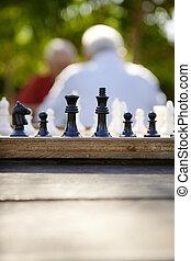 vieux gens, parc, deux, échecs, actif, retiré, amis, jouer