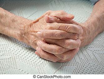 vieux gens, tenue, maison, elderly., hands., soin