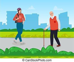 vieux, girl, gens équipent, sac à dos, park., urbain, ville, glasses., canne, style de vie
