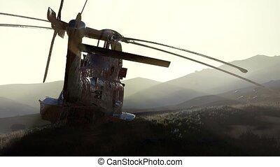 vieux, hélicoptère, désert, coucher soleil, rouillé, militaire