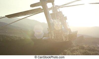 vieux, hélicoptère, rouillé, désert, coucher soleil, militaire
