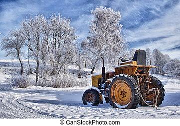 vieux, hiver, lituanie, neige, sous, sceneries, tracteur