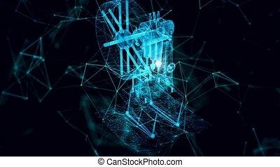 vieux, hologramme, pompage, haut fin, machine