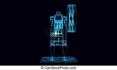 vieux, hologramme, pompage, machine, tourner