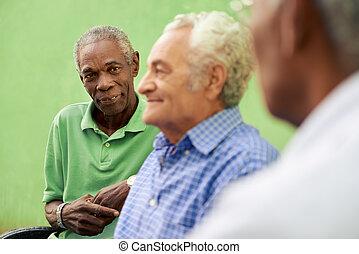 vieux, hommes, parc, conversation, noir, groupe, caucasien