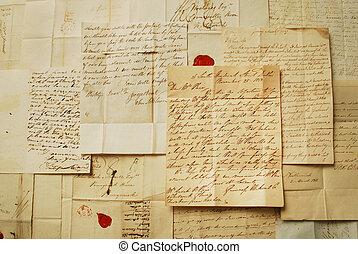 vieux, horizontal, lettres
