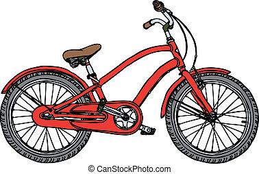 vieux, -, illustration, stylisé, vecteur, vélo