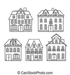 vieux, isolated., illustration, main, maisons, vecteur, dessin