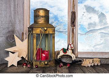 vieux, lante, nostalgique, décoration, jouets, noël